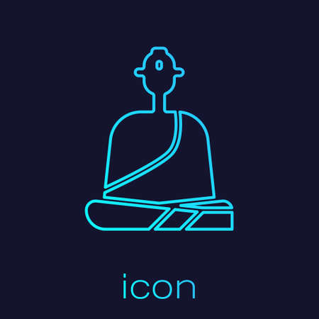 Turquoise line Buddhist monk in robes sitting in meditation icon isolated on blue background. Vector Illustration