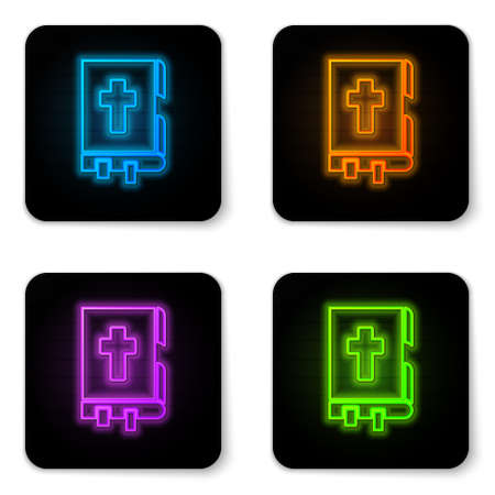 Glowing neon Holy bible book icon isolated on white background. Black square button. Vector Illustration Ilustracja