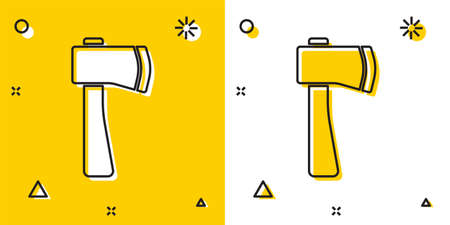 Black Wooden axe icon isolated on yellow and white background. Lumberjack axe. Random dynamic shapes. Vector Illustration Ilustração