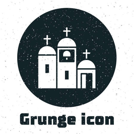 Grunge Church building icon isolated on white background. Christian Church. Religion of church. Monochrome vintage drawing. Vector Illustration Stock Illustratie