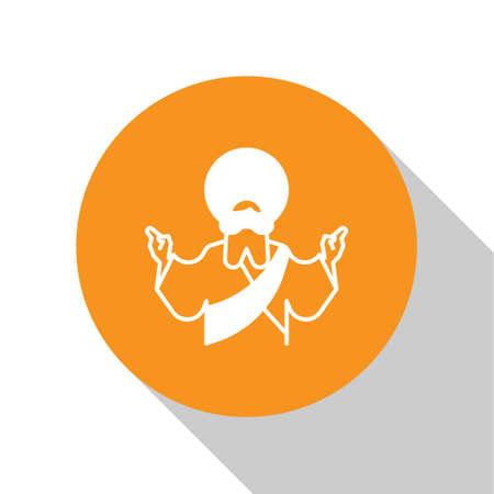 White Jesus Christ icon isolated on white background. Orange circle button. Vector Illustration