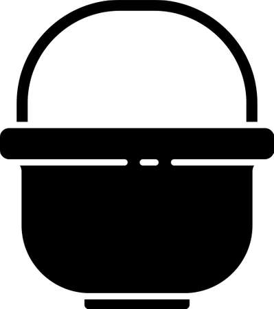 Black Camping pot icon isolated on white background. Boil or stew food symbol. Vector Illustration Ilustração