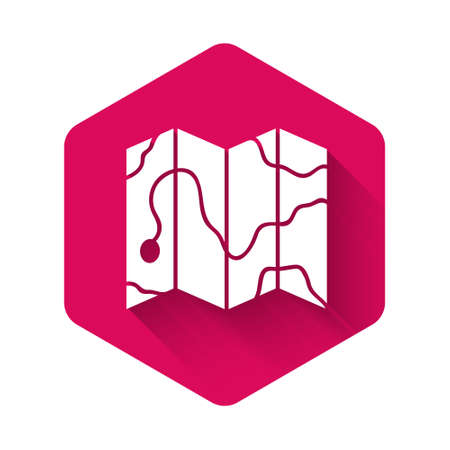 White Location of the forest on a map icon isolated with long shadow. Pink hexagon button. Vector Illustration