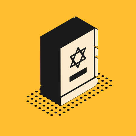 Isometric Jewish torah book icon isolated on yellow background. On the cover of the Bible is the image of the Star of David. Vector Illustration