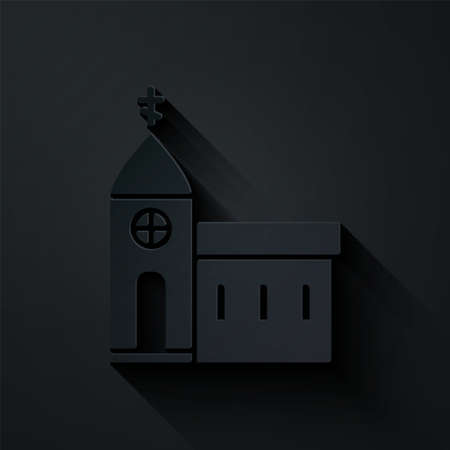 Paper cut Church building icon isolated on black background. Christian Church. Religion of church. Paper art style. Vector Illustration