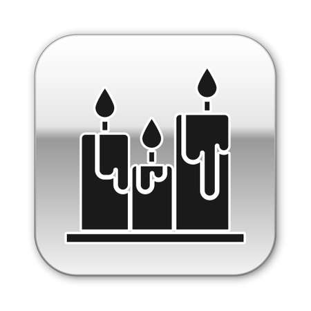 Black Burning candles icon isolated on white background. Cylindrical candle stick with burning flame. Silver square button. Vector Illustration