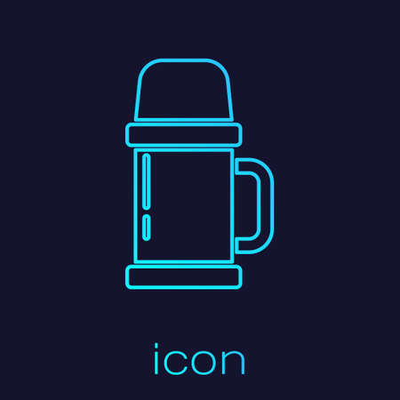 Turquoise line Thermo container icon isolated on blue background. Thermo flask icon. Camping and hiking equipment. Vector Illustration