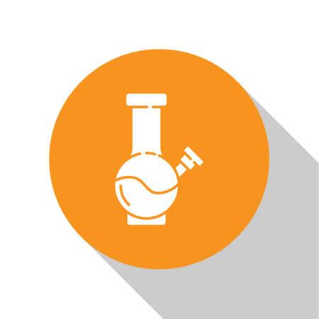 White Glass bong for smoking marijuana or cannabis icon isolated on white background. Orange circle button. Vector Illustration