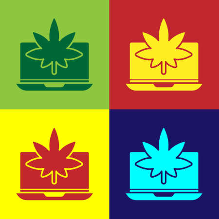 Pop art Laptop and medical marijuana or cannabis leaf icon isolated on color background. Online buying symbol. Supermarket basket. Vector Illustration Illustration
