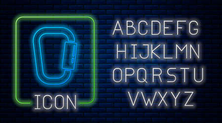 Glowing neon Carabiner icon isolated on brick wall background. Extreme sport. Sport equipment. Neon light alphabet. Vector Illustration