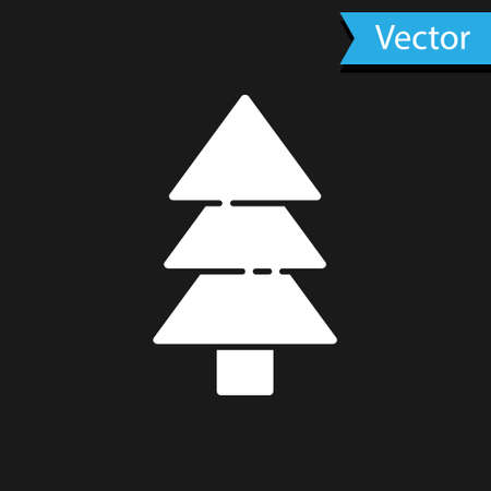 White Tree icon isolated on black background. Forest symbol. Vector Illustration