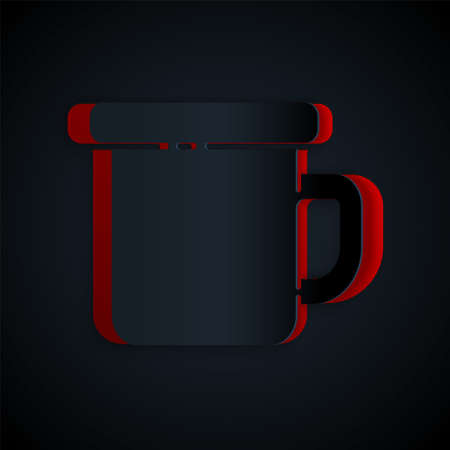 Paper cut Camping metal mug icon isolated on black background. Paper art style. Vector Illustration Ilustração