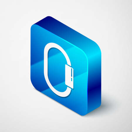 Isometric Carabiner icon isolated on grey background. Extreme sport. Sport equipment. Blue square button. Vector Illustration Illustration