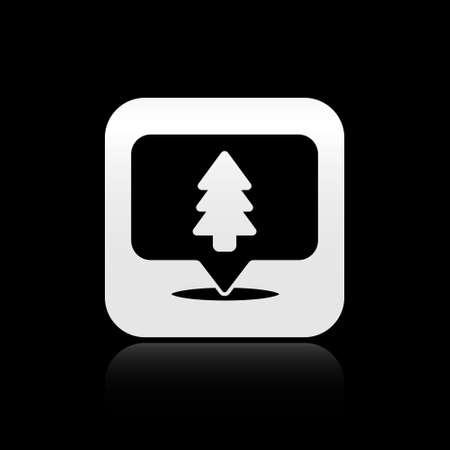 Black Location of the forest on a map icon isolated on black background. Silver square button. Vector Illustration