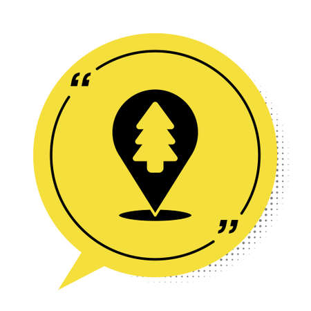 Black Location of the forest on a map icon isolated on white background. Yellow speech bubble symbol. Vector Illustration Illustration