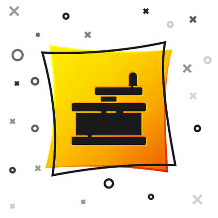 Black Manual grinder icon isolated on white background. Yellow square button. Vector Illustration