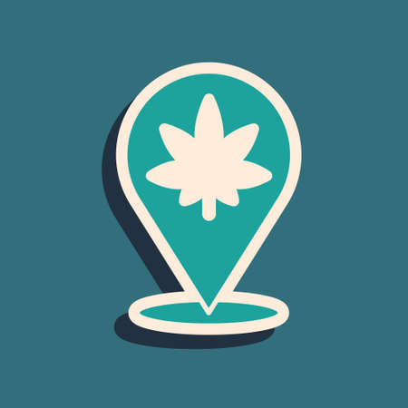 Green Map pointer and marijuana or cannabis leaf icon isolated on green background. Hemp symbol. Long shadow style. Vector Illustration
