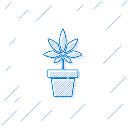 Blue line Medical marijuana or cannabis plant in pot icon isolated on white background. Marijuana growing concept. Hemp potted plant. Vector Illustration  イラスト・ベクター素材