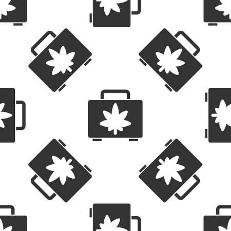 Grey Shopping box of medical marijuana or cannabis leaf icon isolated seamless pattern on white background. Buying cannabis. Hemp symbol. Vector Illustration