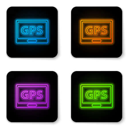 Glowing neon Gps device with map icon isolated on white background. Black square button. Vector Illustration 矢量图像