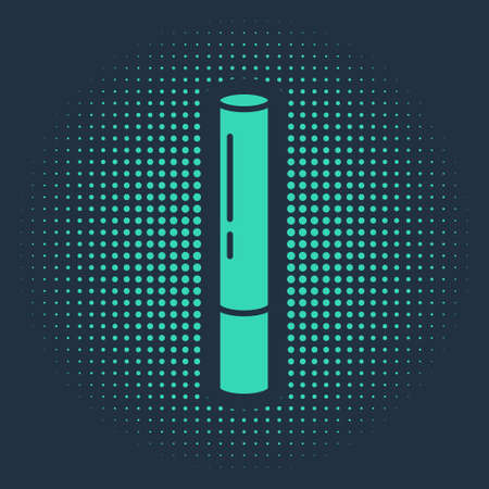 Green Marijuana joint, spliff icon isolated on blue background. Cigarette with drug, marijuana cigarette rolled. Abstract circle random dots. Vector Illustration  イラスト・ベクター素材
