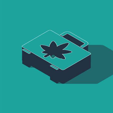Isometric Shopping box of medical marijuana or cannabis leaf icon isolated on green background. Buying cannabis. Hemp symbol. Vector Illustration Ilustracja