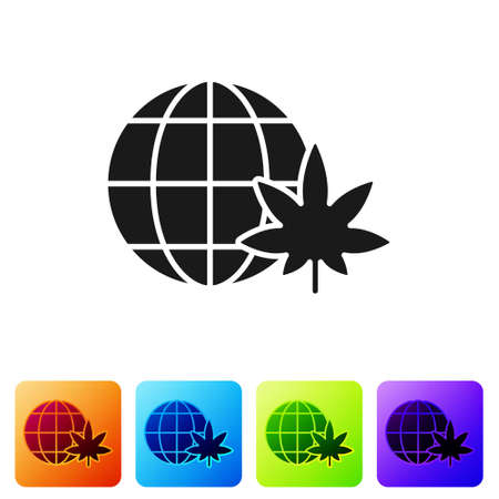 Black Legalize marijuana or cannabis globe symbol icon isolated on white background. Hemp symbol. Set icons in color square buttons. Vector Illustration
