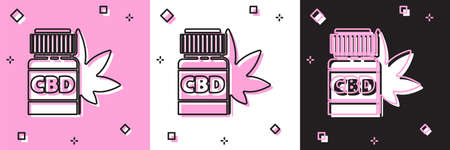 Set Medical bottle with marijuana or cannabis leaf icon isolated on pink and white, black background. Mock up of cannabis oil extracts in jars. Vector Illustration