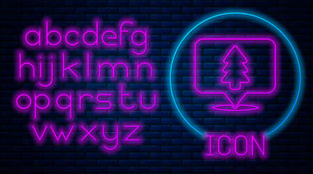 Glowing neon Location of the forest on a map icon isolated on brick wall background. Neon light alphabet. Vector Illustration