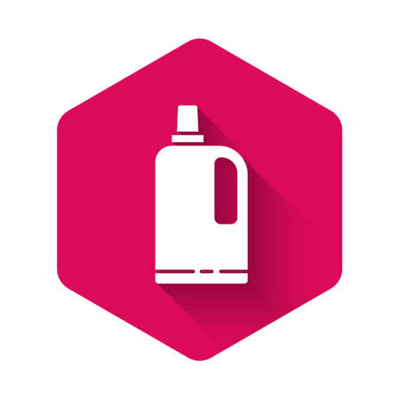 White Fabric softener icon isolated with long shadow. Liquid laundry detergent, conditioner, cleaning agent, bleach. Pink hexagon button. Vector Illustration Illusztráció
