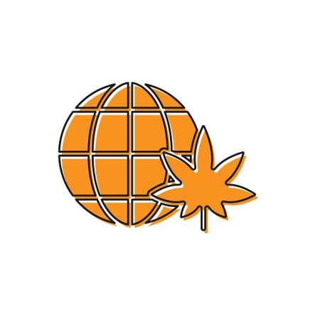 Orange Tree icon isolated on white background. Forest symbol. Vector Illustration