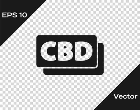 Black Cannabis molecule icon isolated on transparent background. Cannabidiol molecular structures, THC and CBD formula. Marijuana sign. Vector Illustration
