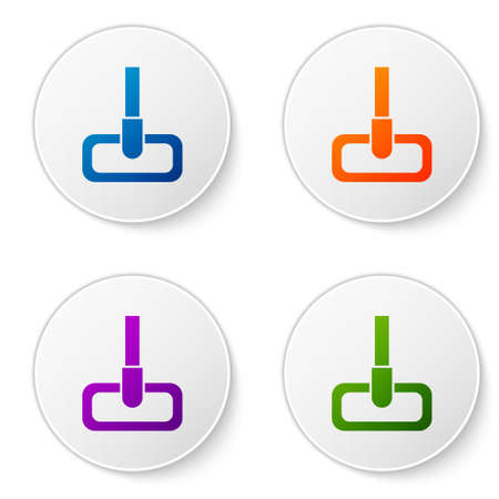 Color Mop icon isolated on white background. Cleaning service concept. Set icons in circle buttons. Vector Illustration