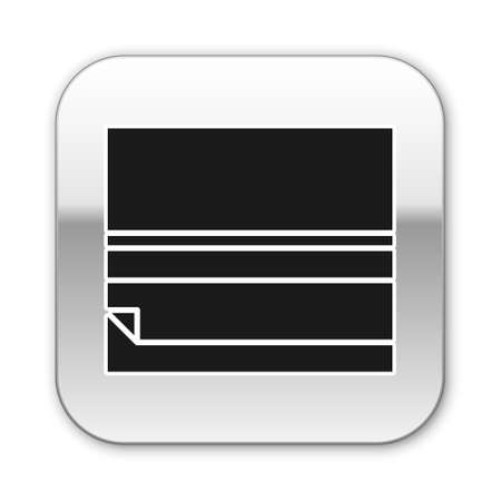 Black Rolling paper icon isolated on white background. Silver square button. Vector Illustration