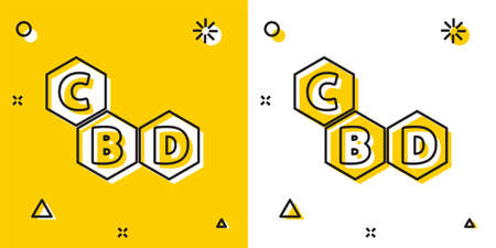 Black Cannabis molecule icon isolated on yellow and white background. Cannabidiol molecular structures, THC and CBD formula. Marijuana sign. Random dynamic shapes. Vector Illustration
