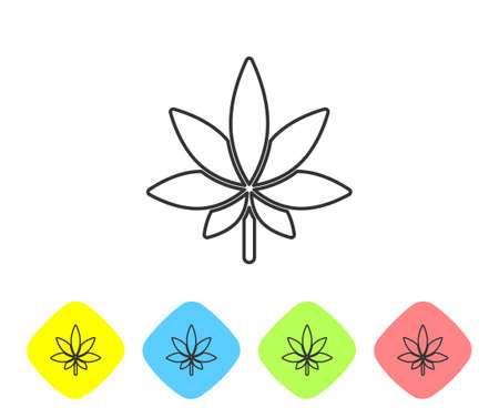 Grey line Medical marijuana or cannabis leaf icon isolated on white background. Hemp symbol. Set icons in color rhombus buttons. Vector Illustration