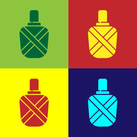 Pop art Canteen water bottle icon isolated on color background. Tourist flask icon. Jar of water use in the campaign. Vector Illustration