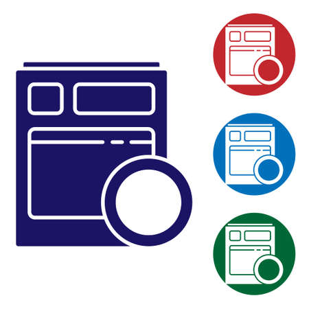 Blue Kitchen dishwasher machine icon isolated on white background. Set icons in color square buttons. Vector Illustration