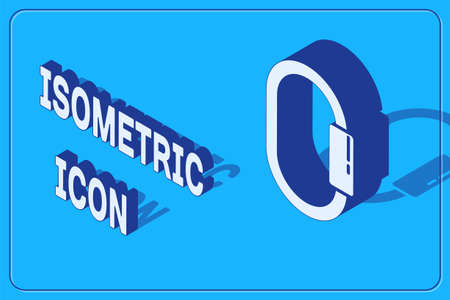 Isometric Carabiner icon isolated on blue background. Extreme sport. Sport equipment. Vector Illustration 일러스트