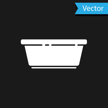 White Plastic basin icon isolated on black background. Bowl with water. Washing clothes, cleaning equipment. Vector Illustration