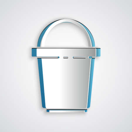 Paper cut Bucket icon isolated on grey background. Cleaning service concept. Paper art style. Vector Illustration Ilustração