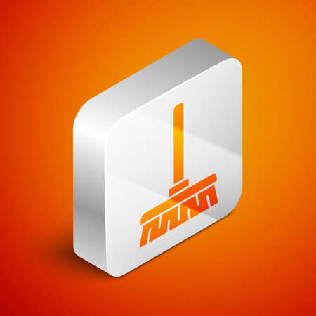 Isometric Handle broom icon isolated on orange background. Cleaning service concept. Silver square button. Vector Illustration