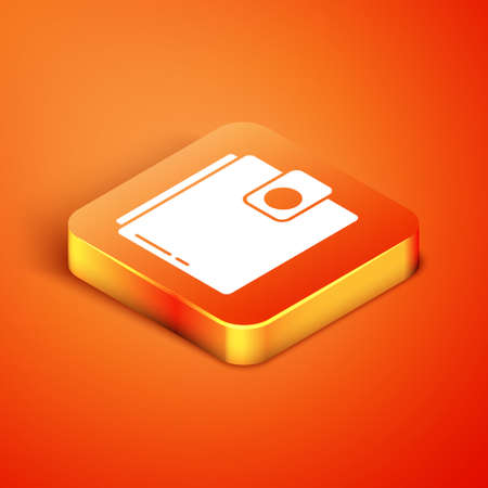 Isometric Wallet icon isolated on orange background. Purse icon. Cash savings symbol. Vector Illustration