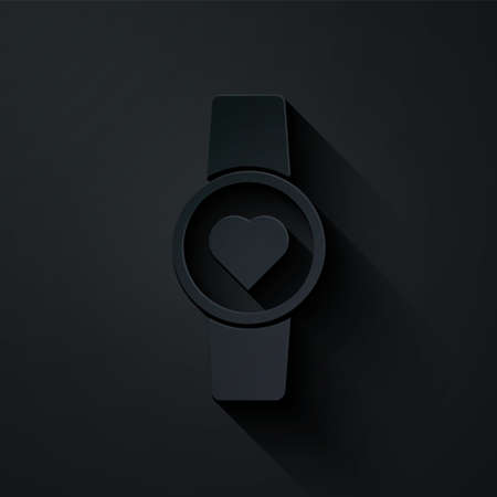 Paper cut Smart watch showing heart beat rate icon isolated on black background. Fitness App concept. Paper art style. Vector Illustration