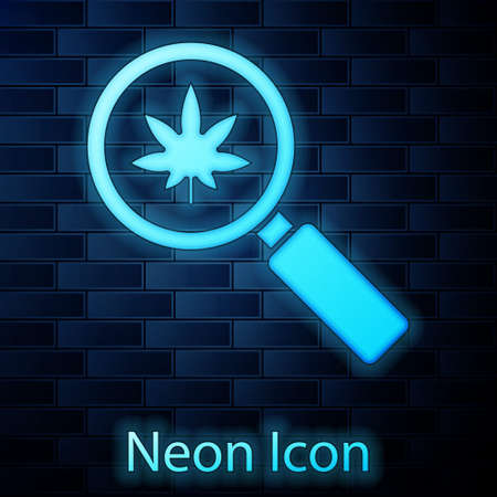 Glowing neon Magnifying glass and medical marijuana or cannabis leaf icon isolated on brick wall background. Hemp symbol. Vector Illustration  イラスト・ベクター素材