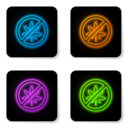 Glowing neon Stop marijuana or cannabis leaf icon isolated on white background. No smoking marijuana. Hemp symbol. Black square button. Vector Illustration