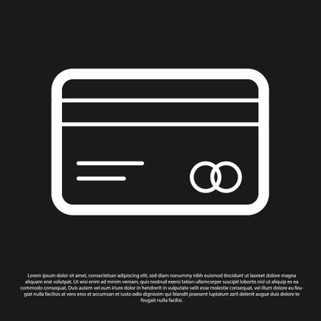 Black Credit card icon isolated on black background. Online payment. Cash withdrawal. Financial operations. Shopping sign. Vector Illustration
