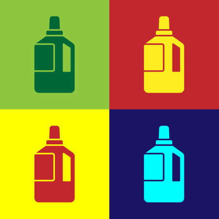Pop art Fabric softener icon isolated on color background. Liquid laundry detergent, conditioner, cleaning agent, bleach. Vector Illustration