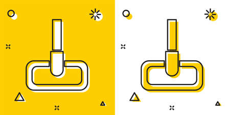 Black Mop icon isolated on yellow and white background. Cleaning service concept. Random dynamic shapes. Vector Illustration