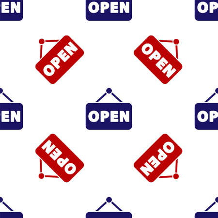 Blue and red Hanging sign with text Open door icon isolated seamless pattern on white background. Vector Illustration